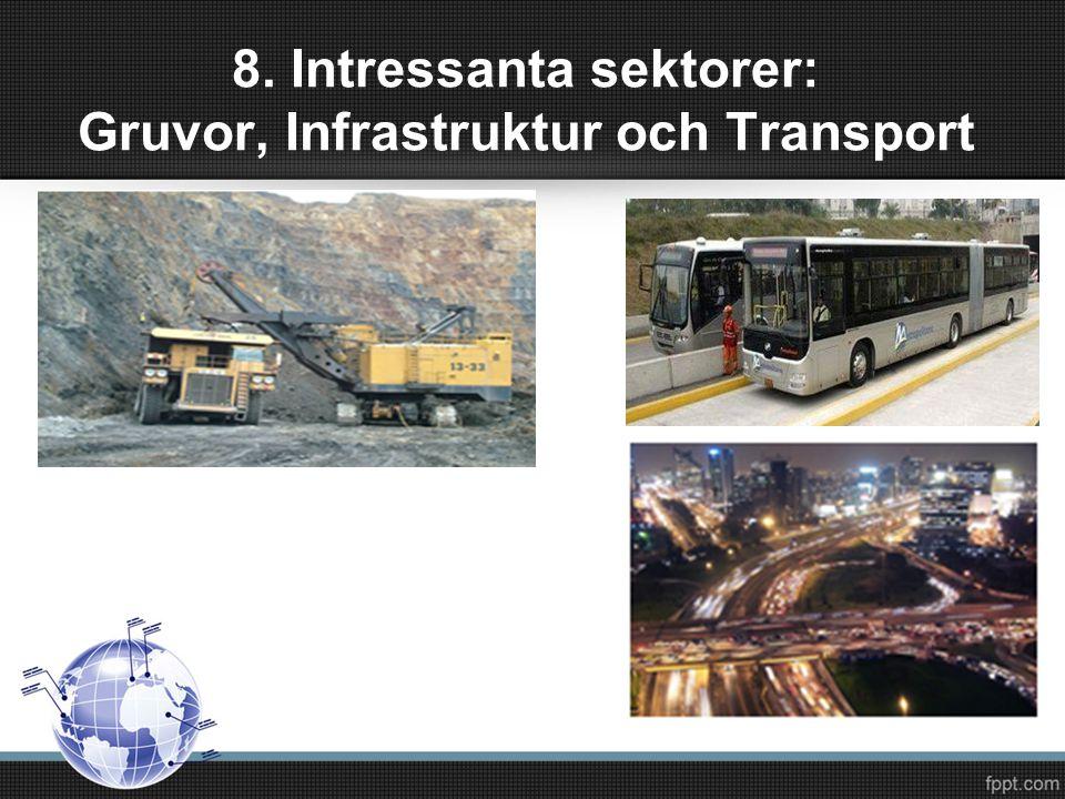 8. Intressanta sektorer: Gruvor, Infrastruktur och Transport