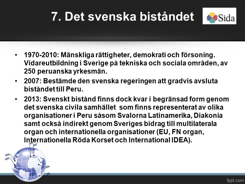 7. Det svenska biståndet 1970-2010: Mänskliga rättigheter, demokrati och försoning.