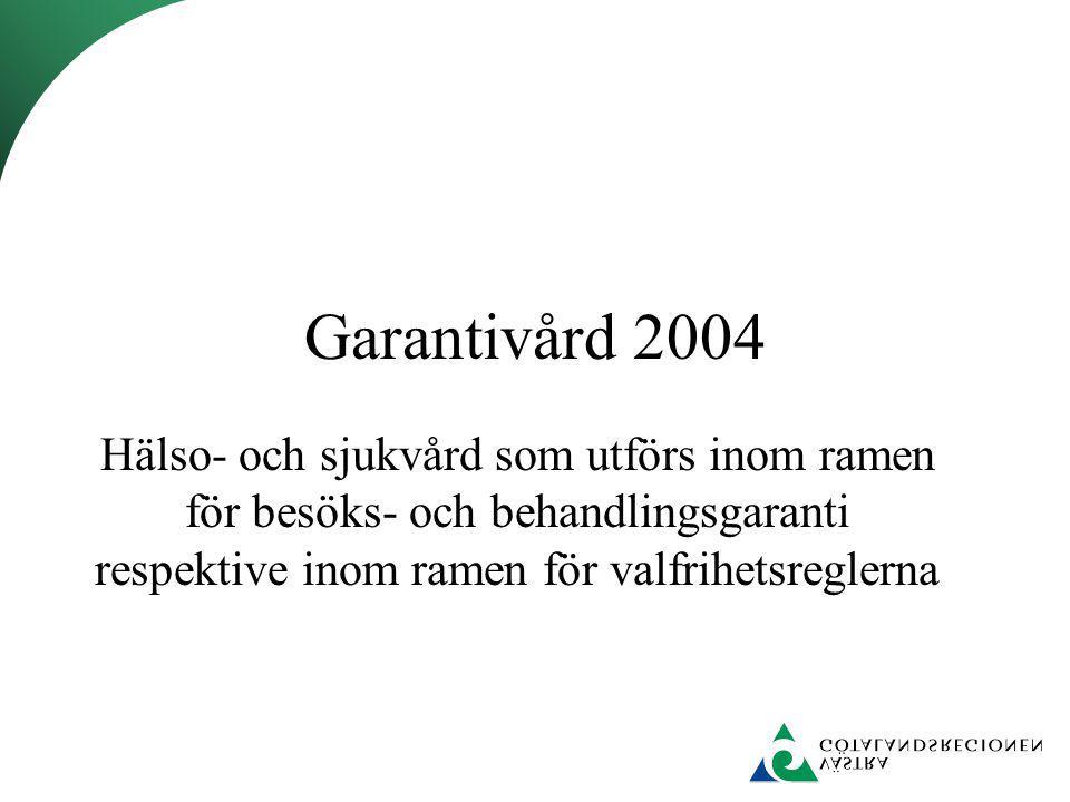 Garantivård 2004 Hälso- och sjukvård som utförs inom ramen för besöks- och behandlingsgaranti respektive inom ramen för valfrihetsreglerna