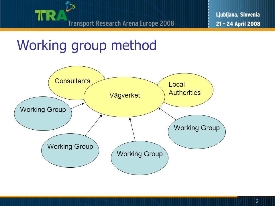 2 Working group method Working Group Vägverket Local Authorities Consultants