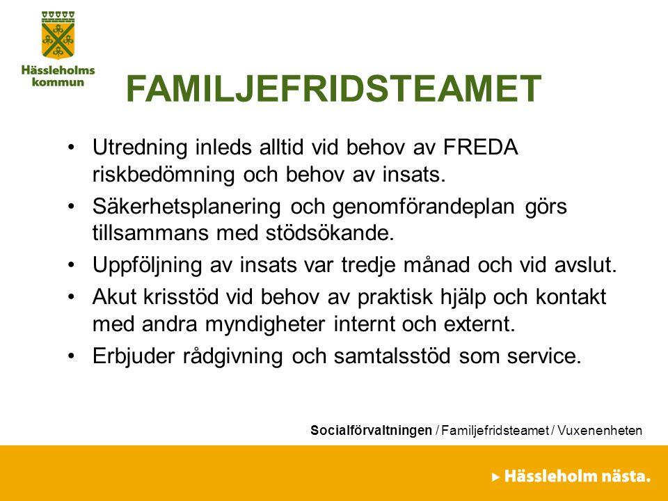 Socialförvaltningen / Familjefridsteamet / Vuxenenheten FAMILJEFRIDSTEAMET Utredning inleds alltid vid behov av FREDA riskbedömning och behov av insat