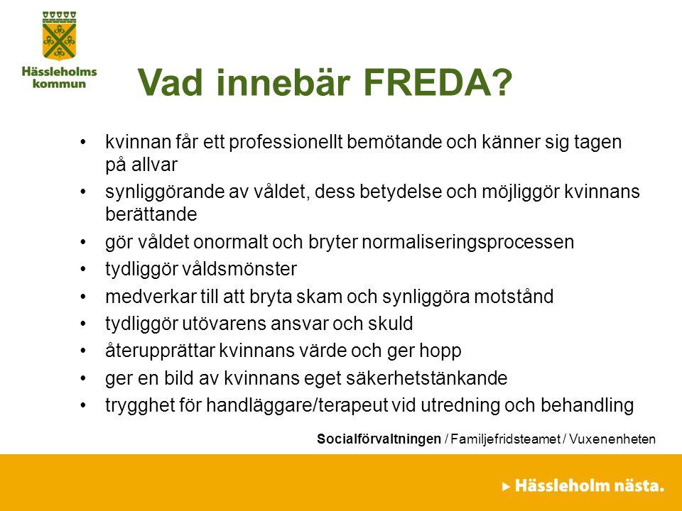Socialförvaltningen / Familjefridsteamet / Vuxenenheten Vad innebär FREDA? kvinnan får ett professionellt bemötande och känner sig tagen på allvar syn