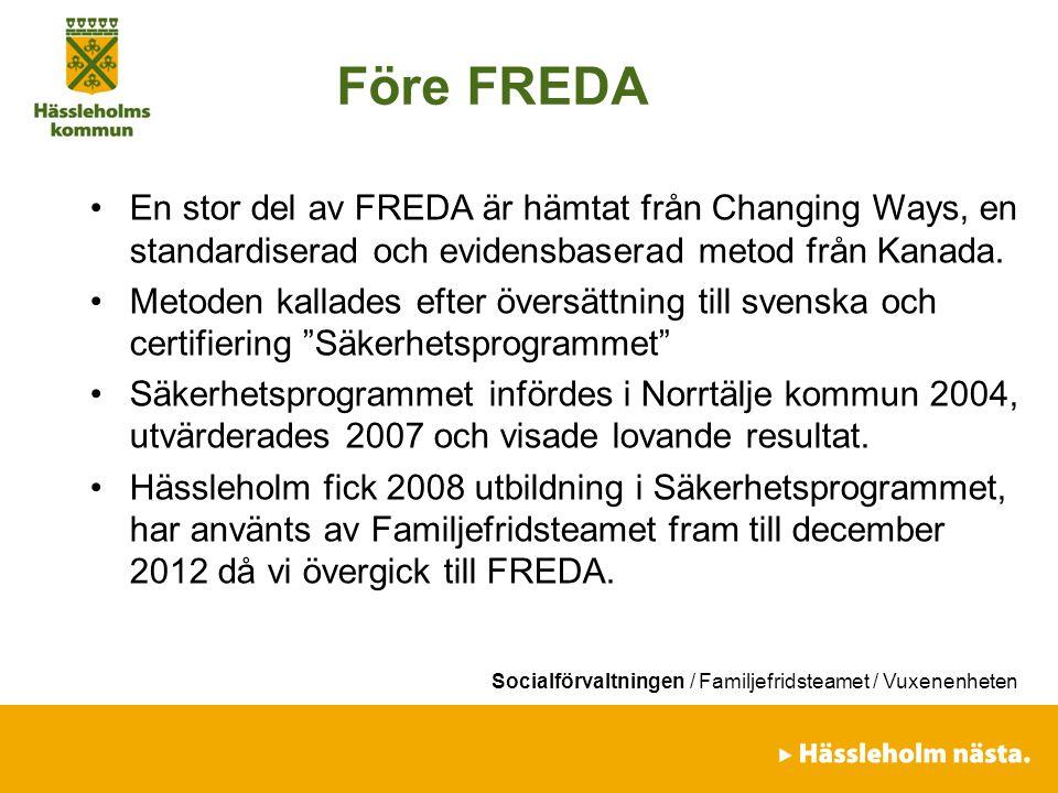 Socialförvaltningen / Familjefridsteamet / Vuxenenheten Före FREDA En stor del av FREDA är hämtat från Changing Ways, en standardiserad och evidensbas