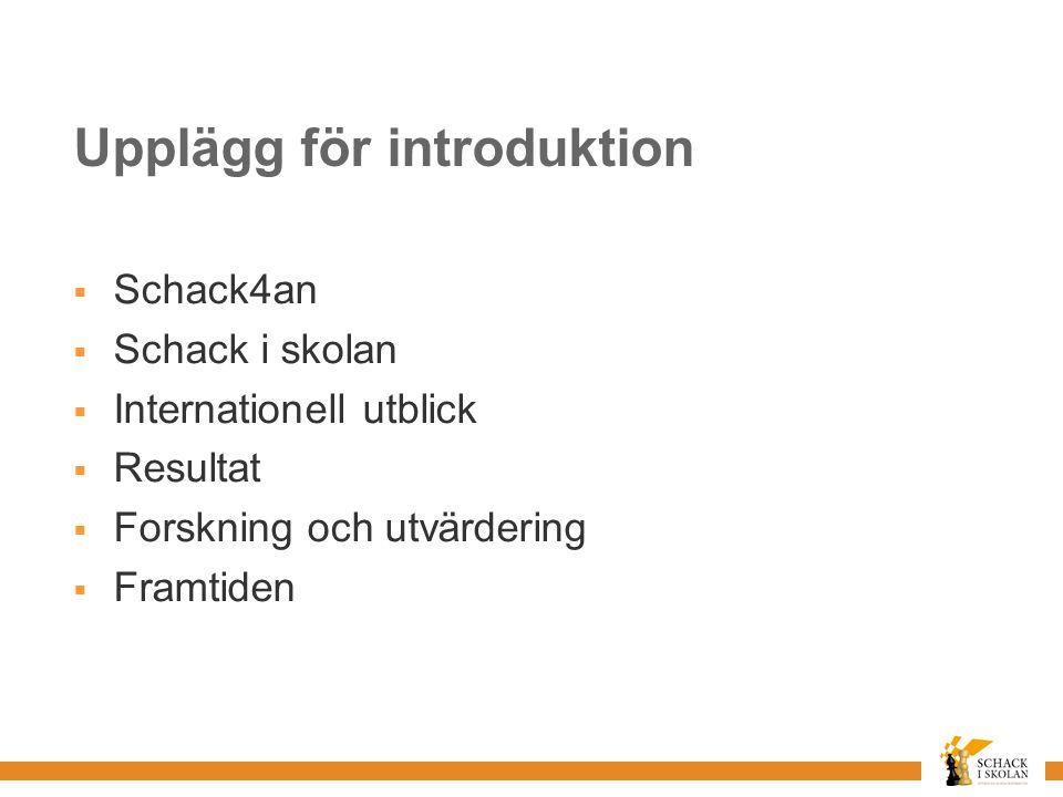 Upplägg för introduktion  Schack4an  Schack i skolan  Internationell utblick  Resultat  Forskning och utvärdering  Framtiden