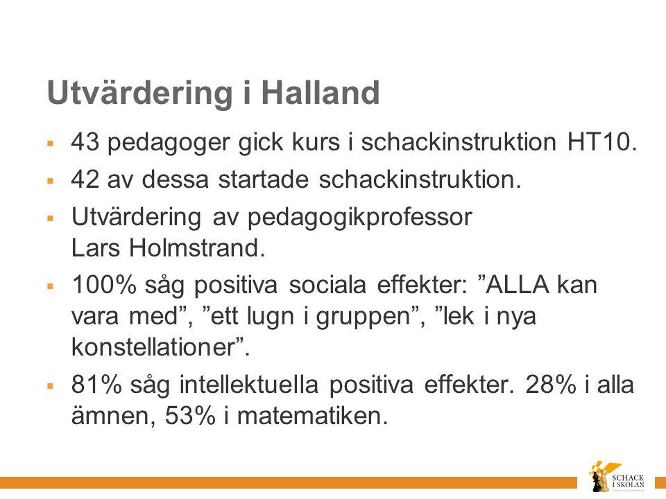 Utvärdering i Halland  43 pedagoger gick kurs i schackinstruktion HT10.