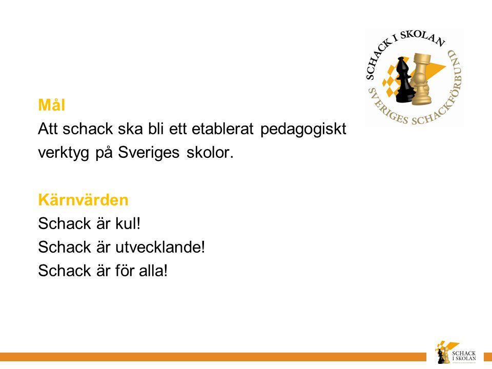 Mål Att schack ska bli ett etablerat pedagogiskt verktyg på Sveriges skolor.