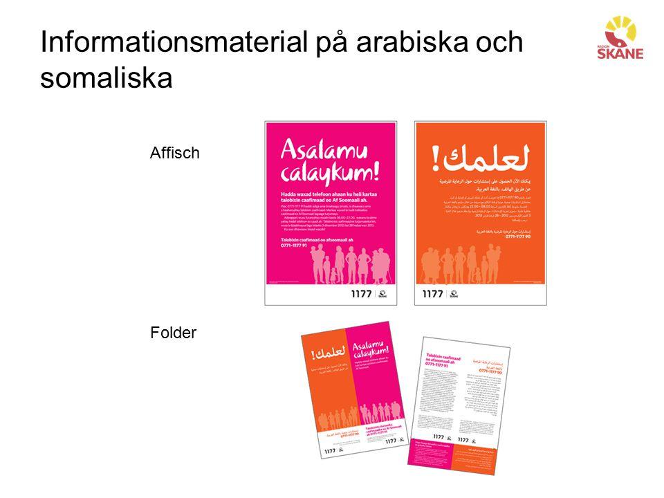 Informationsmaterial på arabiska och somaliska Affisch Folder