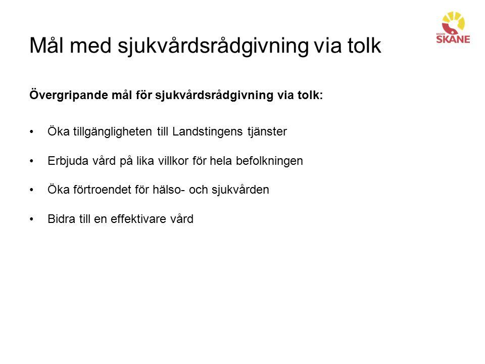 Mål med sjukvårdsrådgivning via tolk Övergripande mål för sjukvårdsrådgivning via tolk: Öka tillgängligheten till Landstingens tjänster Erbjuda vård p