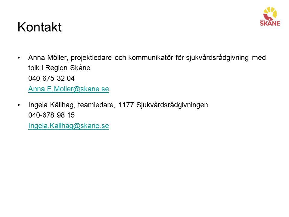 Kontakt Anna Möller, projektledare och kommunikatör för sjukvårdsrådgivning med tolk i Region Skåne 040-675 32 04 Anna.E.Moller@skane.se Anna.E.Moller