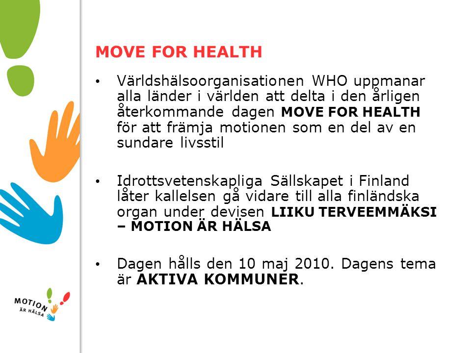 10/01/2008 MOVE FOR HEALTH Världshälsoorganisationen WHO uppmanar alla länder i världen att delta i den årligen återkommande dagen MOVE FOR HEALTH för att främja motionen som en del av en sundare livsstil Idrottsvetenskapliga Sällskapet i Finland låter kallelsen gå vidare till alla finländska organ under devisen LIIKU TERVEEMMÄKSI – MOTION ÄR HÄLSA Dagen hålls den 10 maj 2010.