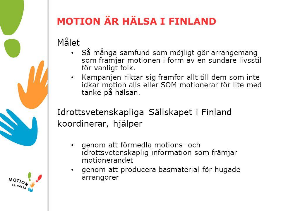 10/01/2008 MOTION ÄR HÄLSA I FINLAND Målet Så många samfund som möjligt gör arrangemang som främjar motionen i form av en sundare livsstil för vanligt