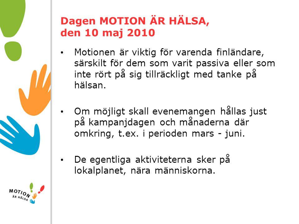 10/01/2008 Dagen MOTION ÄR HÄLSA, den 10 maj 2010 Motionen är viktig för varenda finländare, särskilt för dem som varit passiva eller som inte rört på sig tillräckligt med tanke på hälsan.