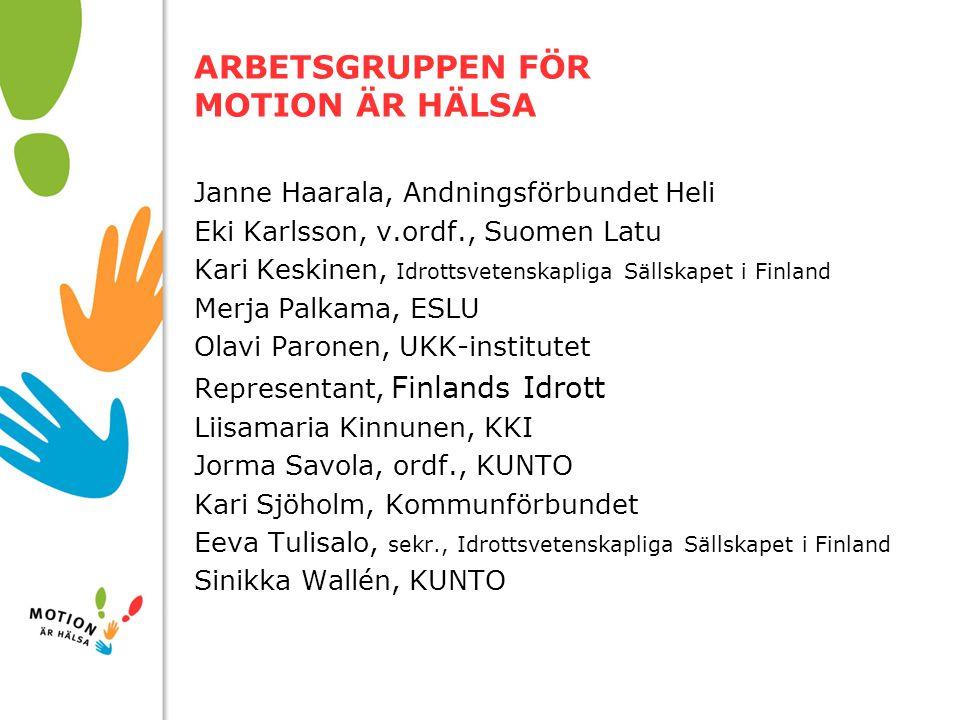 10/01/2008 ARBETSGRUPPEN FÖR MOTION ÄR HÄLSA Janne Haarala, Andningsförbundet Heli Eki Karlsson, v.ordf., Suomen Latu Kari Keskinen, Idrottsvetenskapl