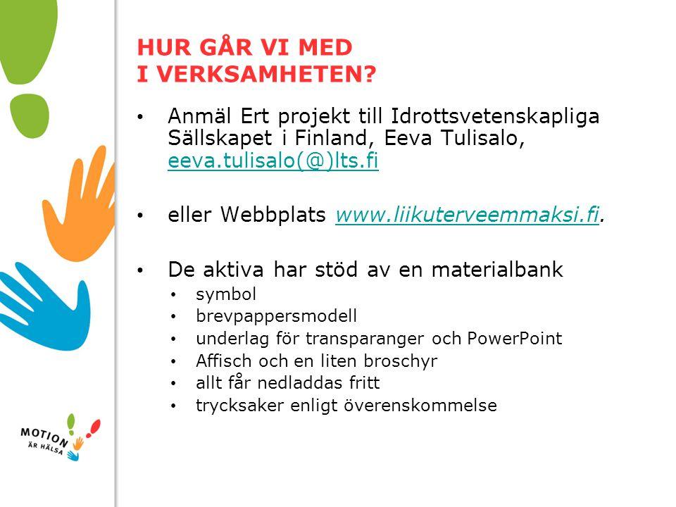 10/01/2008 HUR GÅR VI MED I VERKSAMHETEN? Anmäl Ert projekt till Idrottsvetenskapliga Sällskapet i Finland, Eeva Tulisalo, eeva.tulisalo(@)lts.fi eeva