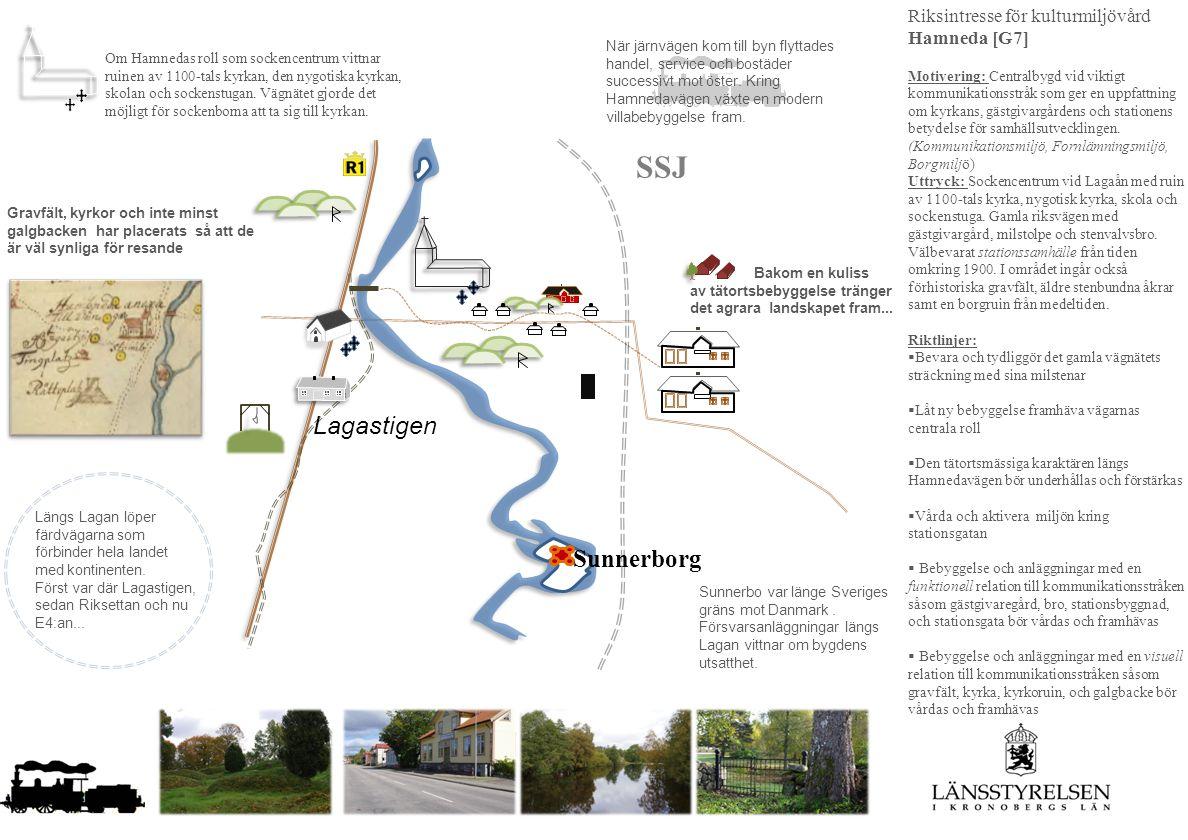 SSJ Lagastigen Sunnerborg Riksintresse för kulturmiljövård Hamneda [G7] Motivering: Centralbygd vid viktigt kommunikationsstråk som ger en uppfattning om kyrkans, gästgivargårdens och stationens betydelse för samhällsutvecklingen.