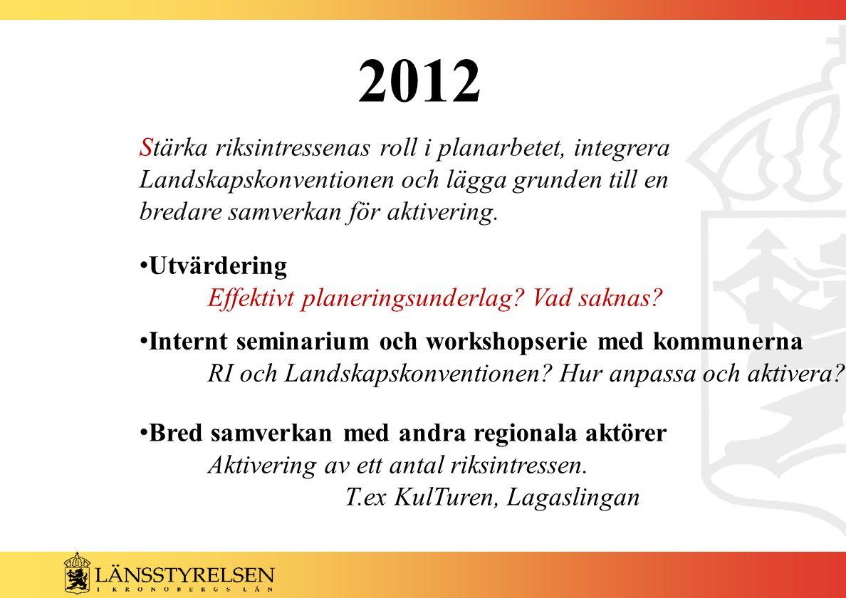 2012 Utvärdering Effektivt planeringsunderlag. Vad saknas.