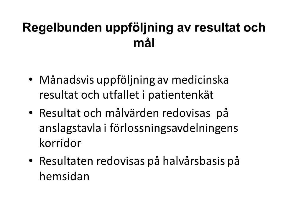 Regelbunden uppföljning av resultat och mål Månadsvis uppföljning av medicinska resultat och utfallet i patientenkät Resultat och målvärden redovisas
