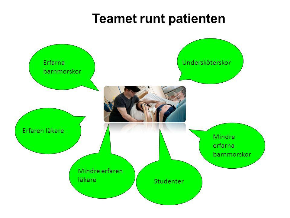 Teamet runt patienten Erfarna barnmorskor Mindre erfarna barnmorskor Undersköterskor Erfaren läkare Mindre erfaren läkare Studenter