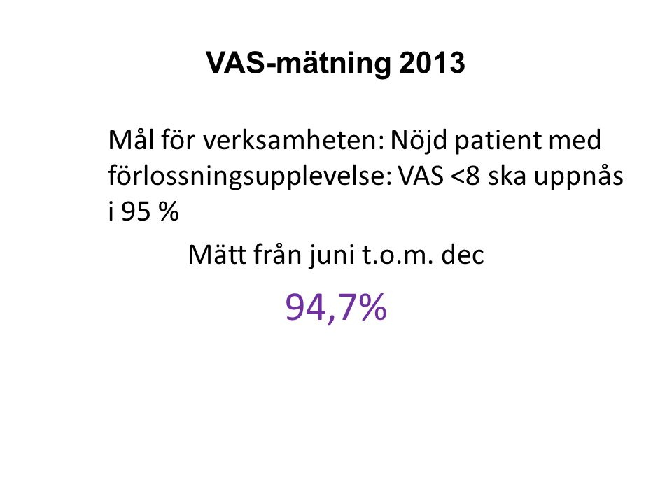 VAS-mätning 2013 Mål för verksamheten: Nöjd patient med förlossningsupplevelse: VAS <8 ska uppnås i 95 % Mätt från juni t.o.m. dec 94,7%