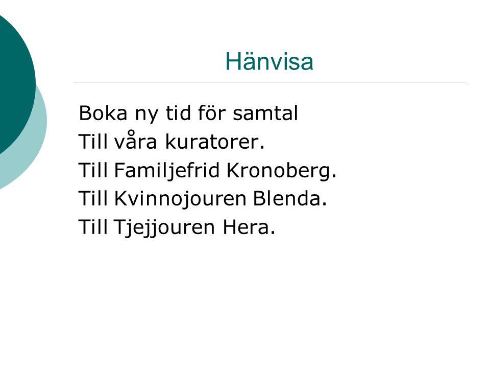 Hänvisa Boka ny tid för samtal Till våra kuratorer. Till Familjefrid Kronoberg. Till Kvinnojouren Blenda. Till Tjejjouren Hera.