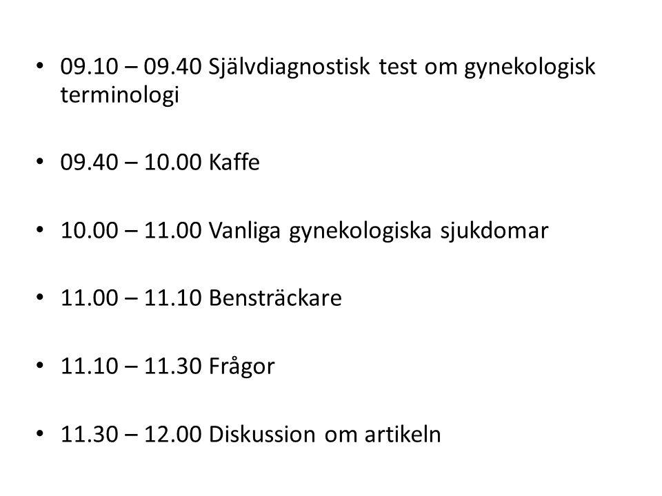 09.10 – 09.40 Självdiagnostisk test om gynekologisk terminologi 09.40 – 10.00 Kaffe 10.00 – 11.00 Vanliga gynekologiska sjukdomar 11.00 – 11.10 Benstr
