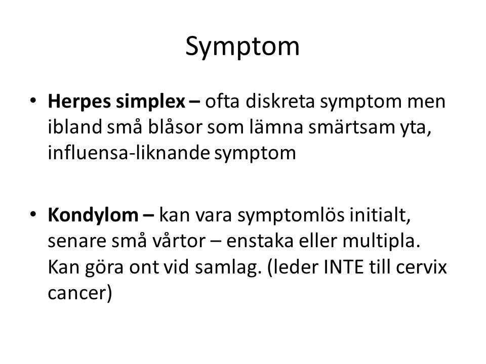 Symptom Herpes simplex – ofta diskreta symptom men ibland små blåsor som lämna smärtsam yta, influensa-liknande symptom Kondylom – kan vara symptomlös
