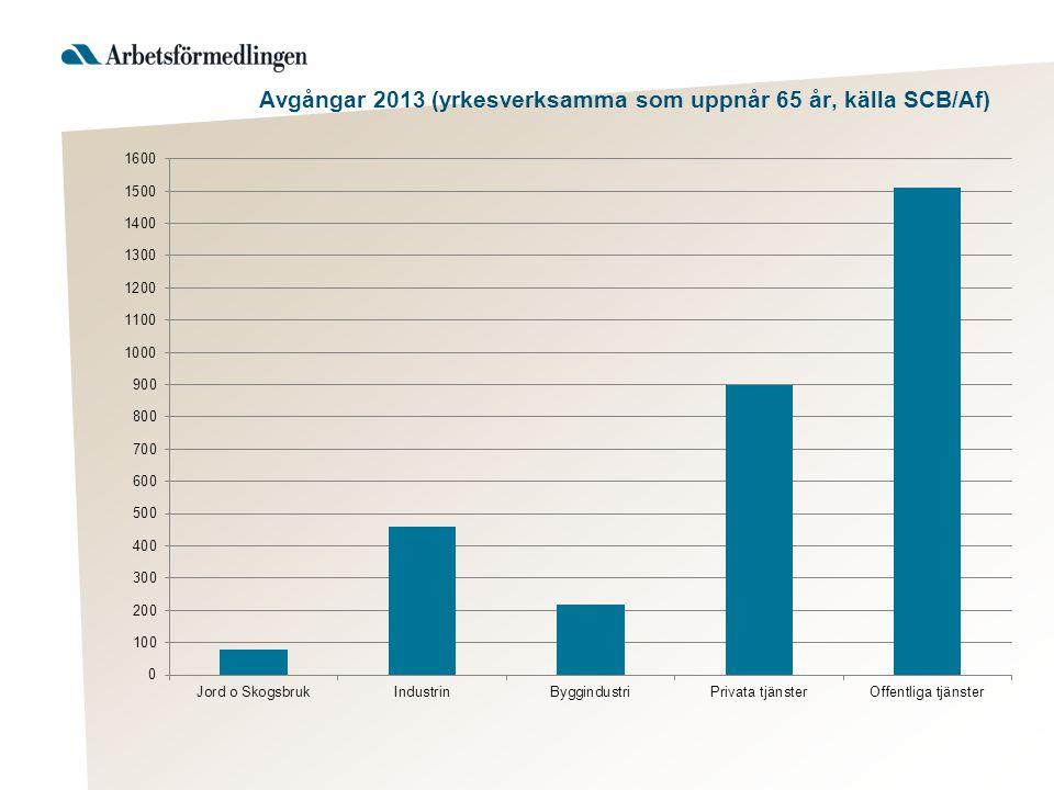 Avgångar 2013 (yrkesverksamma som uppnår 65 år, källa SCB/Af)