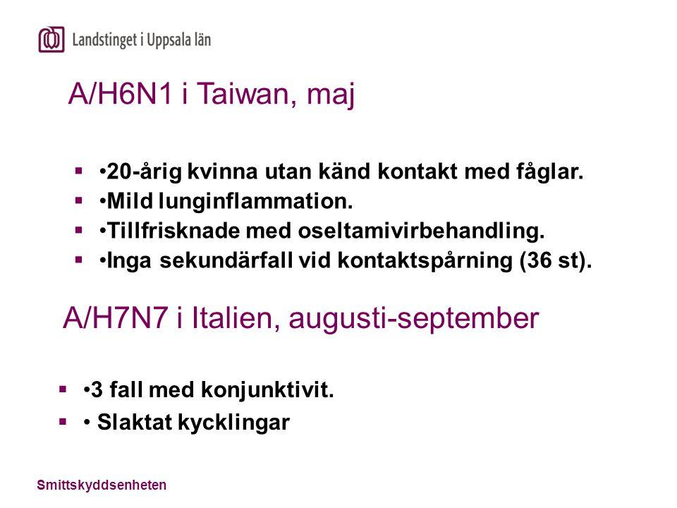 Smittskyddsenheten A/H7N7 i Italien, augusti-september 3 fall med konjunktivit.