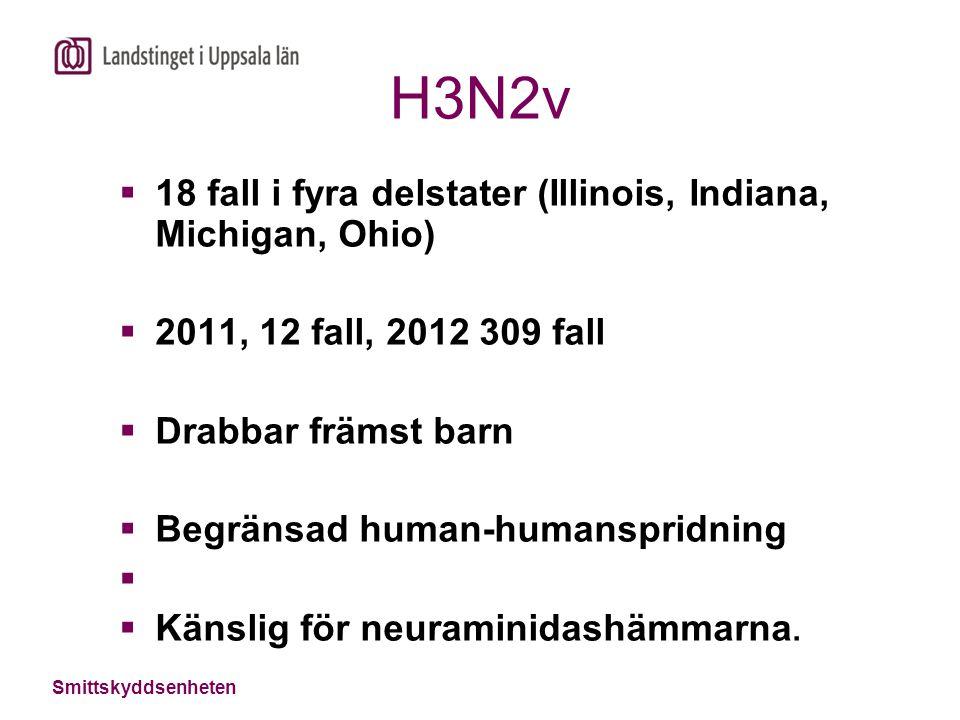 H3N2v  18 fall i fyra delstater (Illinois, Indiana, Michigan, Ohio)  2011, 12 fall, 2012 309 fall  Drabbar främst barn  Begränsad human-humanspridning   Känslig för neuraminidashämmarna.