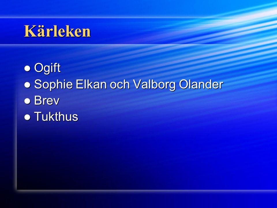 Kärleken Ogift Ogift Sophie Elkan och Valborg Olander Sophie Elkan och Valborg Olander Brev Brev Tukthus Tukthus