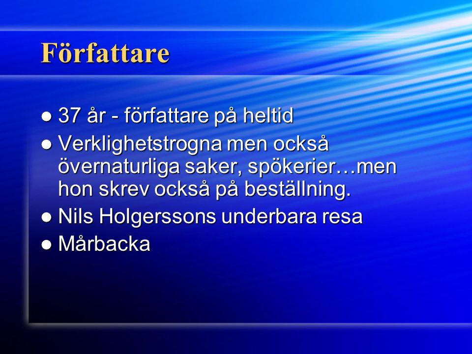 Nobelpriset 1909 1909 Första kvinnliga nobelpristagare Första kvinnliga nobelpristagare För att hon skrivit så många bra böcker och genom dem gjort Sverige känt ute i världen.