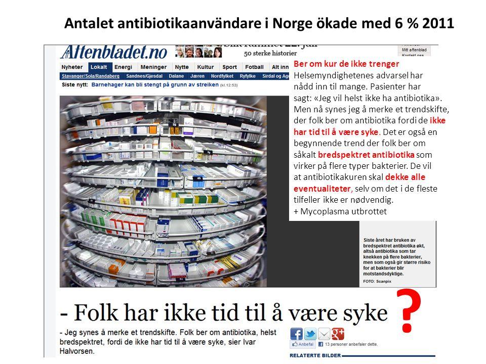 Antalet antibiotikaanvändare i Norge ökade med 6 % 2011 Ber om kur de ikke trenger Helsemyndighetenes advarsel har nådd inn til mange. Pasienter har s