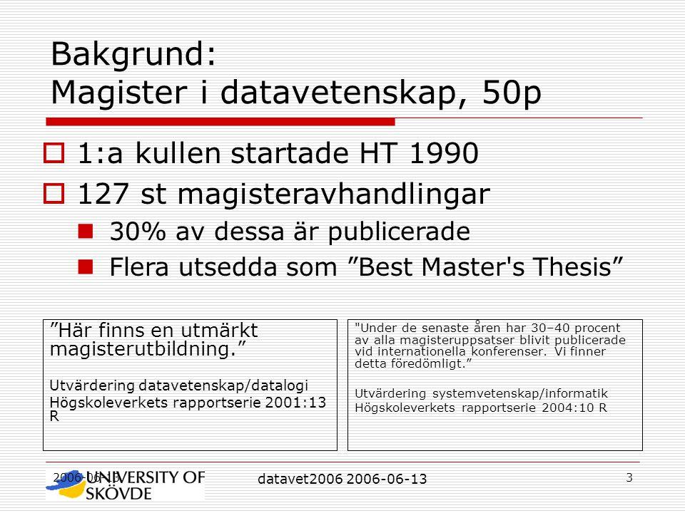 2006-06-13 datavet2006 2006-06-13 3 Bakgrund: Magister i datavetenskap, 50p Här finns en utmärkt magisterutbildning. Utvärdering datavetenskap/datalogi Högskoleverkets rapportserie 2001:13 R Under de senaste åren har 30–40 procent av alla magisteruppsatser blivit publicerade vid internationella konferenser.