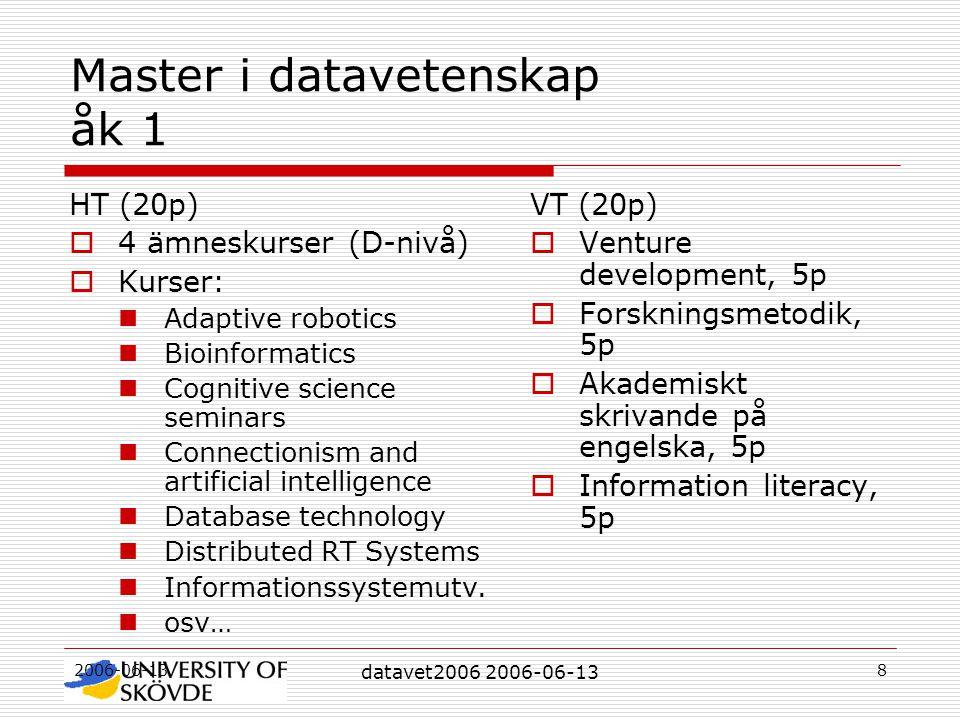 2006-06-13 datavet2006 2006-06-13 8 Master i datavetenskap åk 1 HT (20p)  4 ämneskurser (D-nivå)  Kurser: Adaptive robotics Bioinformatics Cognitive science seminars Connectionism and artificial intelligence Database technology Distributed RT Systems Informationssystemutv.