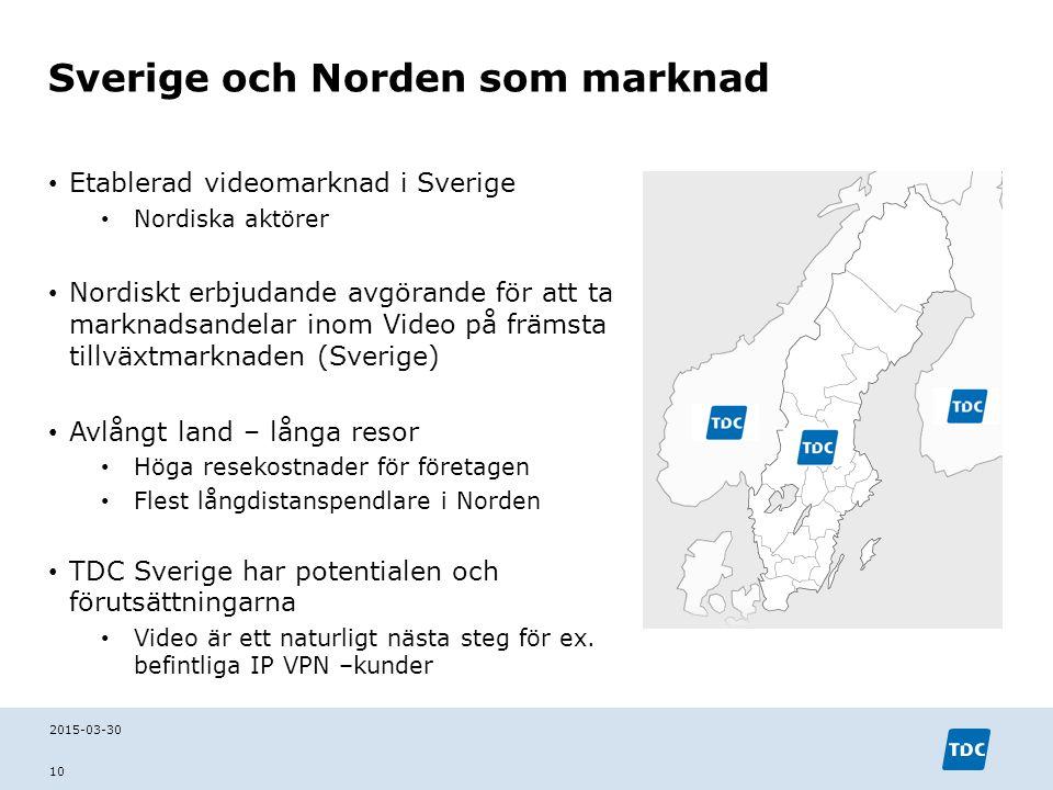 Sverige och Norden som marknad Etablerad videomarknad i Sverige Nordiska aktörer Nordiskt erbjudande avgörande för att ta marknadsandelar inom Video p