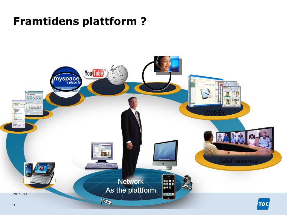 Framtidens plattform ? 2015-03-30 3 WebEx TelePresence Network As the plattform