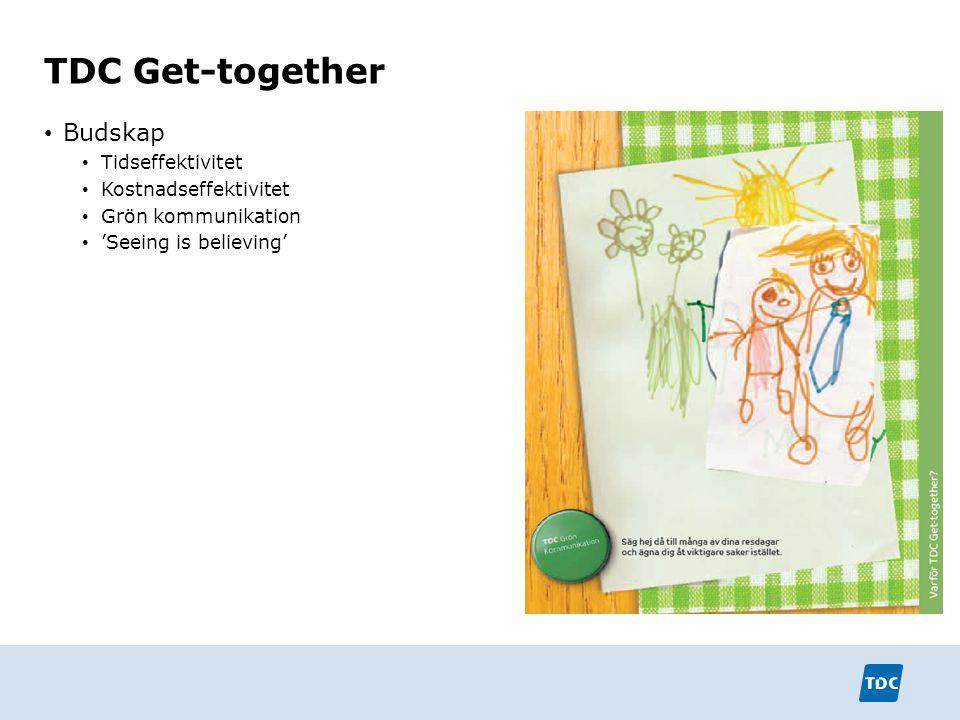 TDC Get-together Budskap Tidseffektivitet Kostnadseffektivitet Grön kommunikation 'Seeing is believing'