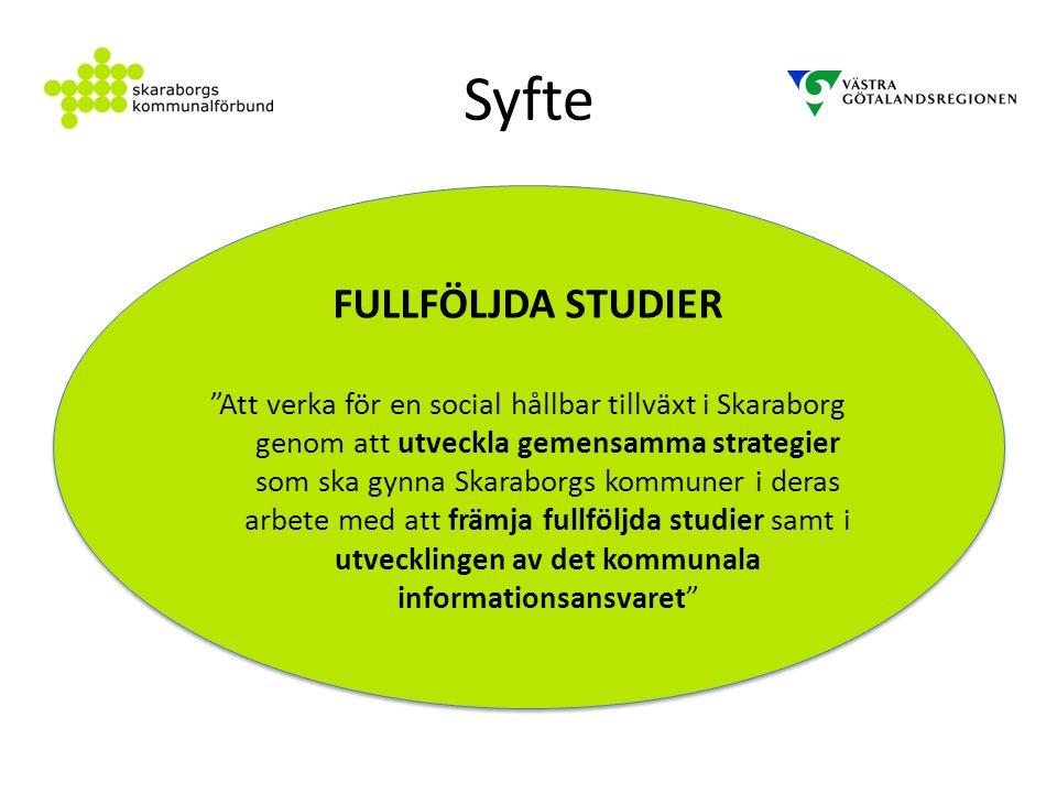 """Syfte FULLFÖLJDA STUDIER """"Att verka för en social hållbar tillväxt i Skaraborg genom att utveckla gemensamma strategier som ska gynna Skaraborgs kommu"""