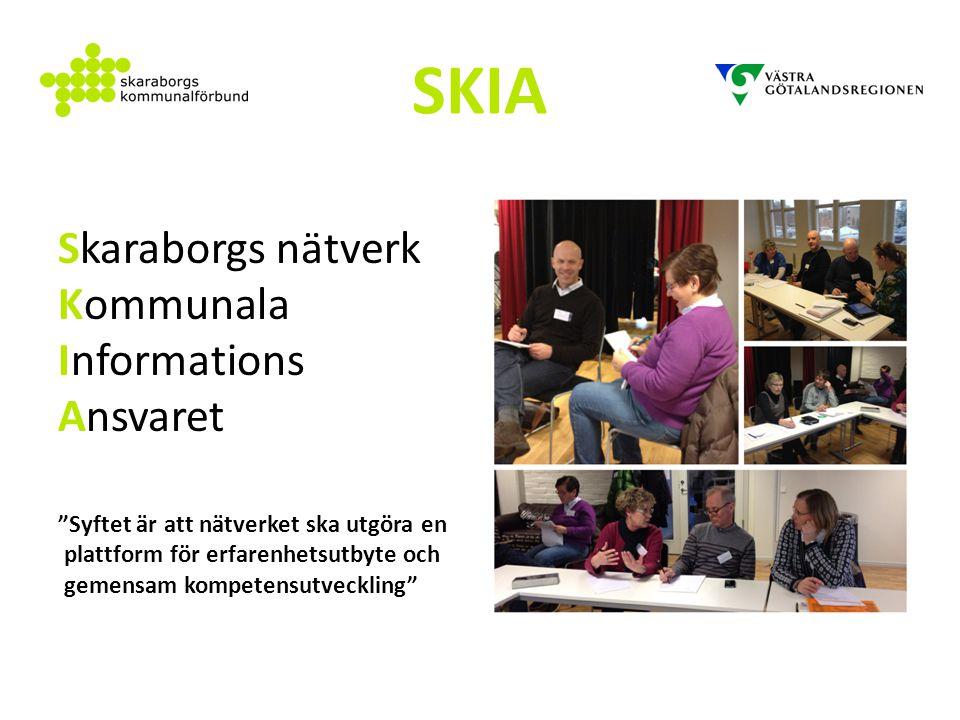 """SKIA Skaraborgs nätverk Kommunala Informations Ansvaret """"Syftet är att nätverket ska utgöra en plattform för erfarenhetsutbyte och gemensam kompetensu"""