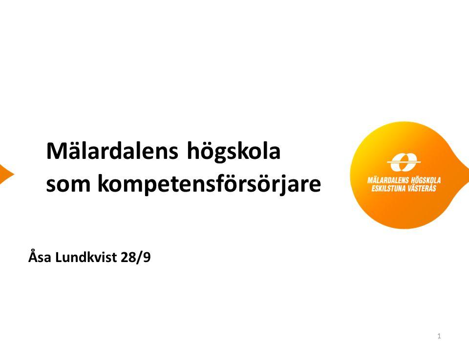 Mälardalens högskola som kompetensförsörjare Åsa Lundkvist 28/9 1