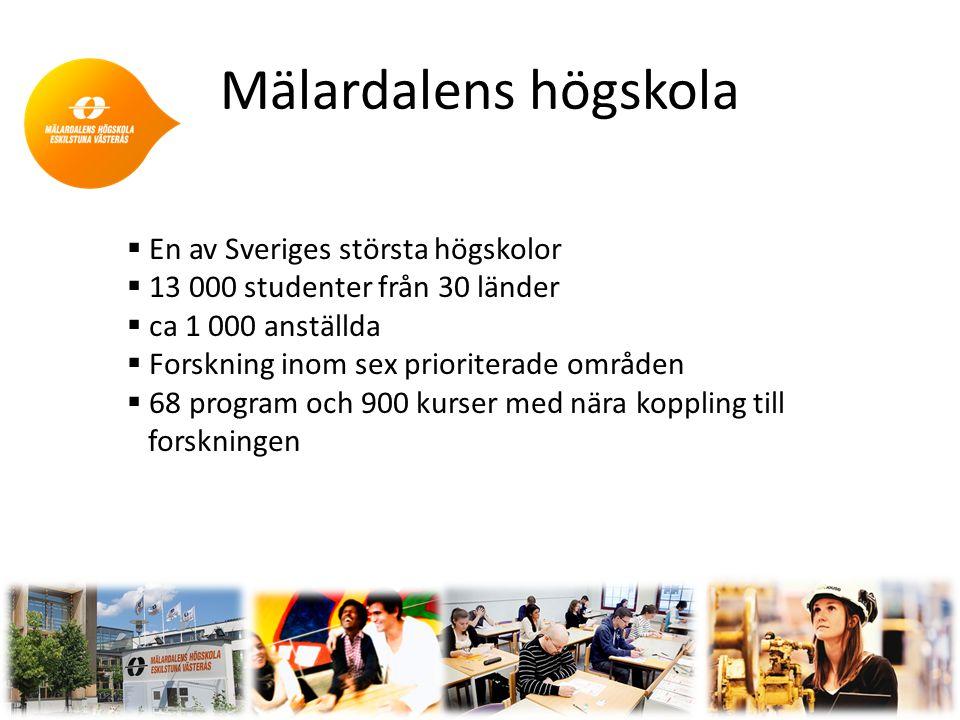 Mälardalens högskola 2  En av Sveriges största högskolor  13 000 studenter från 30 länder  ca 1 000 anställda  Forskning inom sex prioriterade områden  68 program och 900 kurser med nära koppling till forskningen