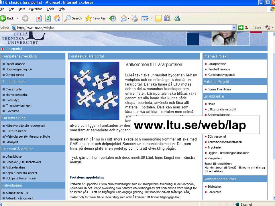 Område 2: Classfronter Drift Utbildning Support Utvecklingsprojekt för att –Underlätta –Förbättra –Bredda användningen av Classfronter 1.Implementation av Quizzverktyg, rapporteringsverktyg 2.Integrerad drift och supportorganisation för storskaligt bruk 3.Webbsida för support av Classfronter 4.Specifika utbildningsinsatser 5.Integrering med personal IDEAL
