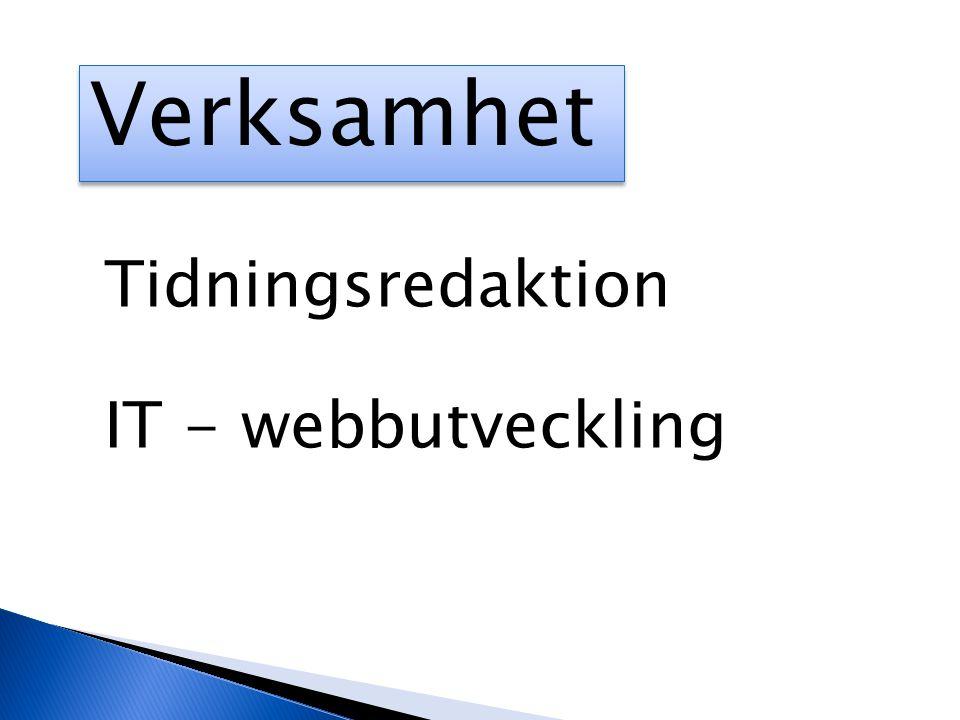 Verksamhet Tidningsredaktion IT - webbutveckling