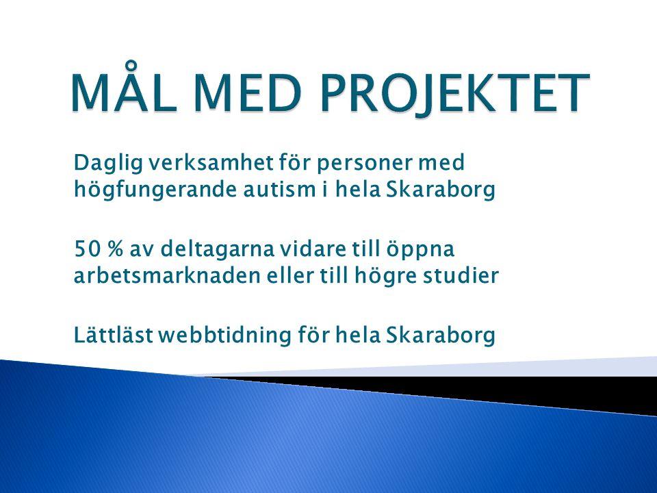 Daglig verksamhet för personer med högfungerande autism i hela Skaraborg 50 % av deltagarna vidare till öppna arbetsmarknaden eller till högre studier