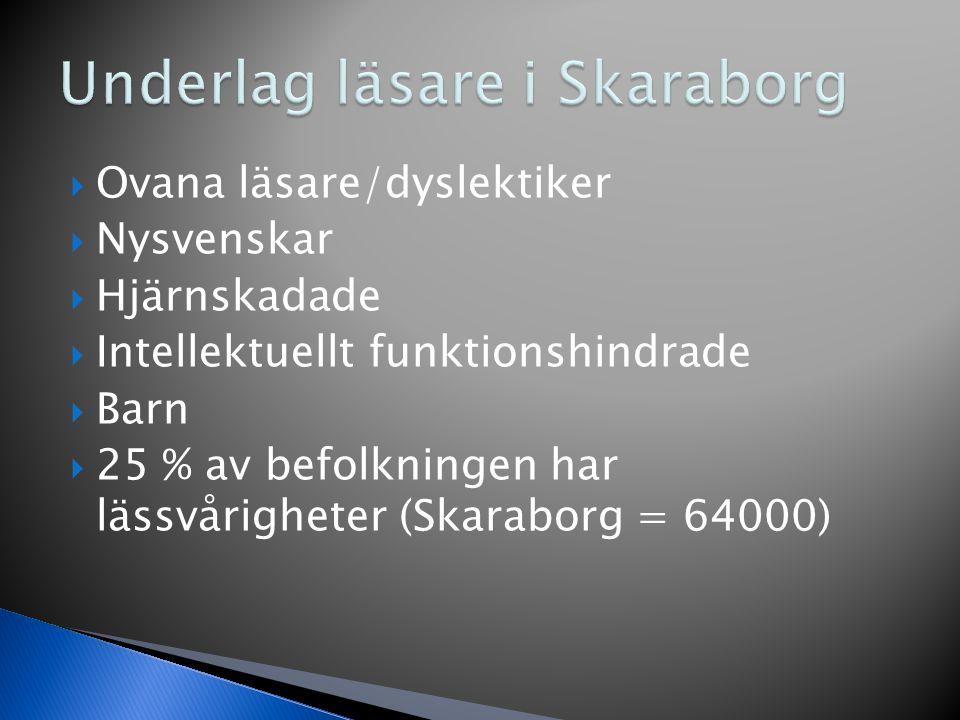  Ovana läsare/dyslektiker  Nysvenskar  Hjärnskadade  Intellektuellt funktionshindrade  Barn  25 % av befolkningen har lässvårigheter (Skaraborg