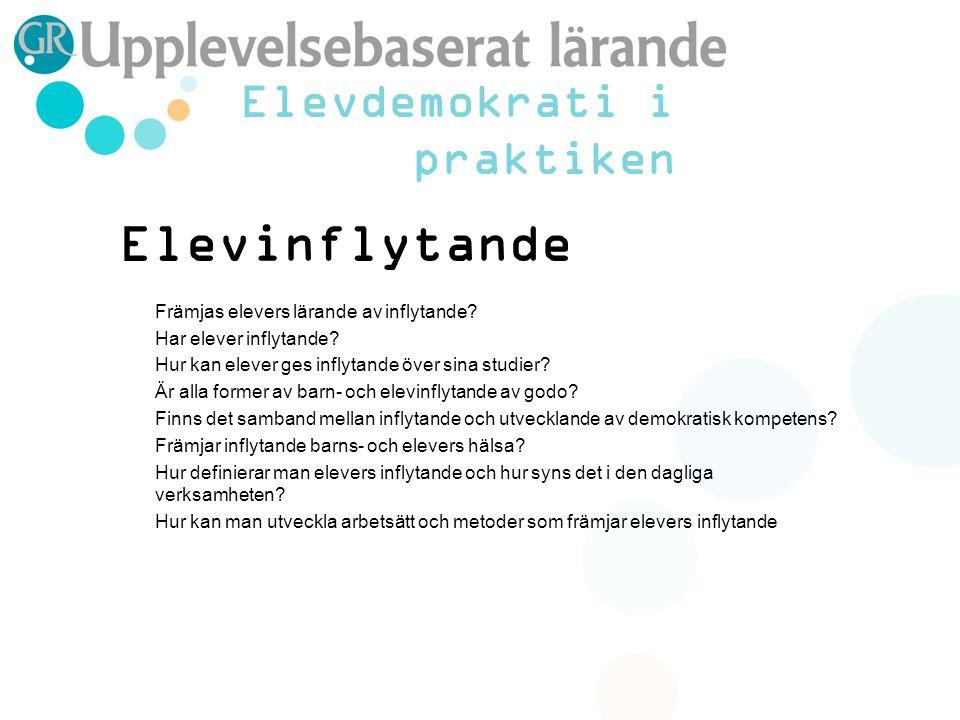 Elevinflytande Främjas elevers lärande av inflytande.