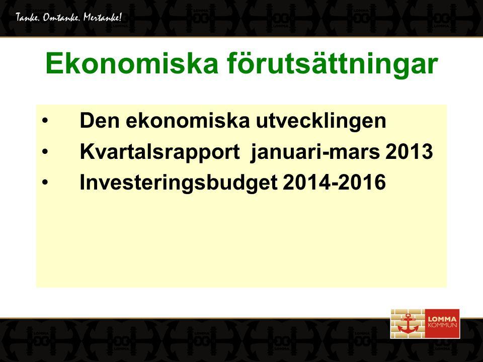 Ekonomiska förutsättningar Den ekonomiska utvecklingen Kvartalsrapport januari-mars 2013 Investeringsbudget 2014-2016
