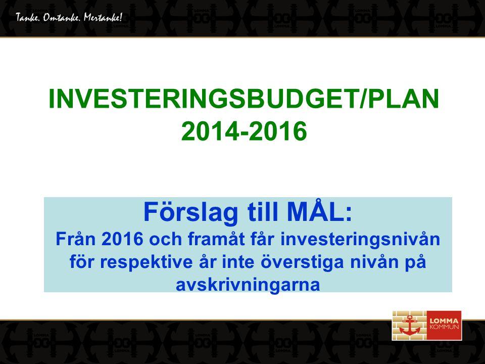 INVESTERINGSBUDGET/PLAN 2014-2016 Förslag till MÅL: Från 2016 och framåt får investeringsnivån för respektive år inte överstiga nivån på avskrivningarna