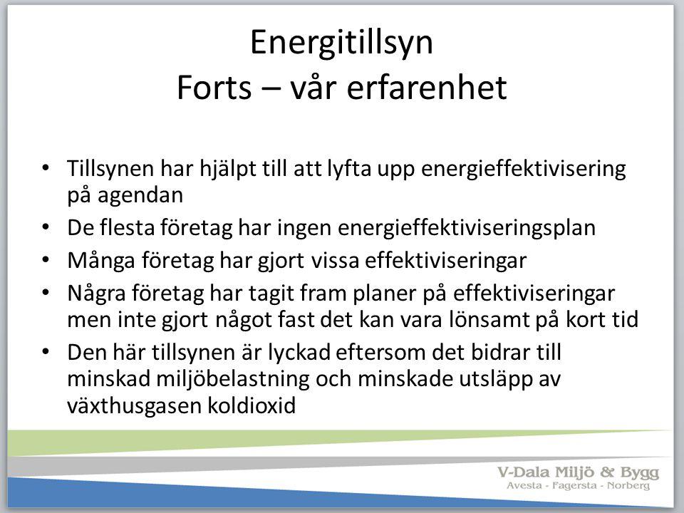 Energitillsyn Forts – vår erfarenhet Tillsynen har hjälpt till att lyfta upp energieffektivisering på agendan De flesta företag har ingen energieffekt