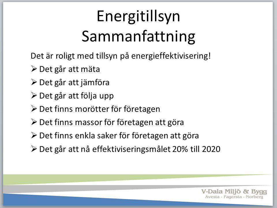 Energitillsyn Sammanfattning Det är roligt med tillsyn på energieffektivisering!  Det går att mäta  Det går att jämföra  Det går att följa upp  De
